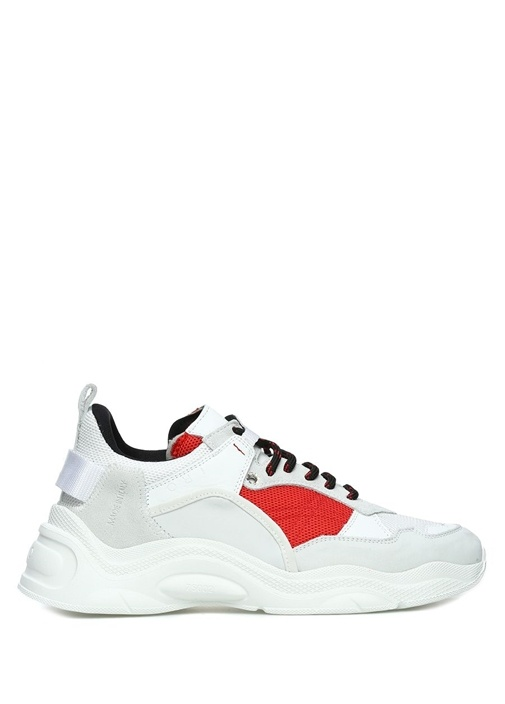 Beyaz Kırmızı File Dokulu Kadın Deri Sneaker