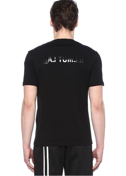 Band Seam Siyah Bisiklet Yaka Logolu Basic T-shirt