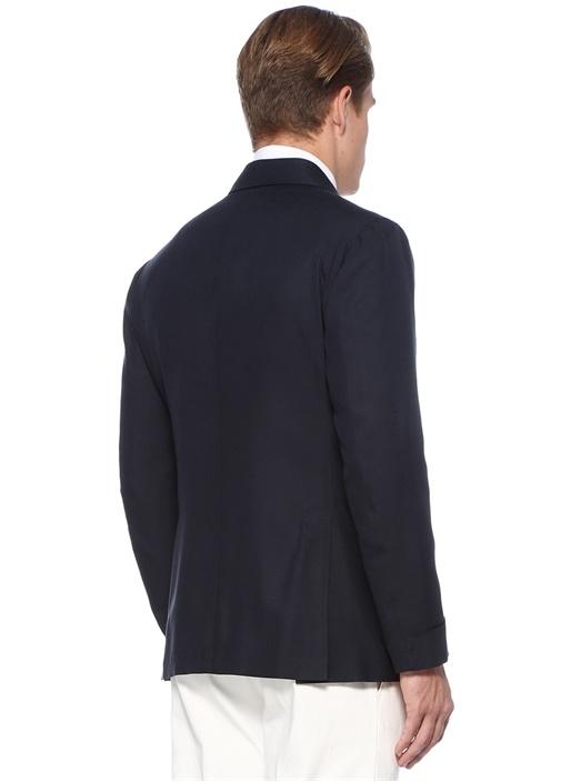 Lacivert Şal Yaka İpek Ceket