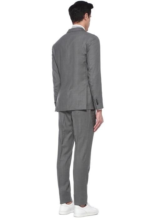 Gri Kelebek Yaka Dokulu Yün Takım Elbise