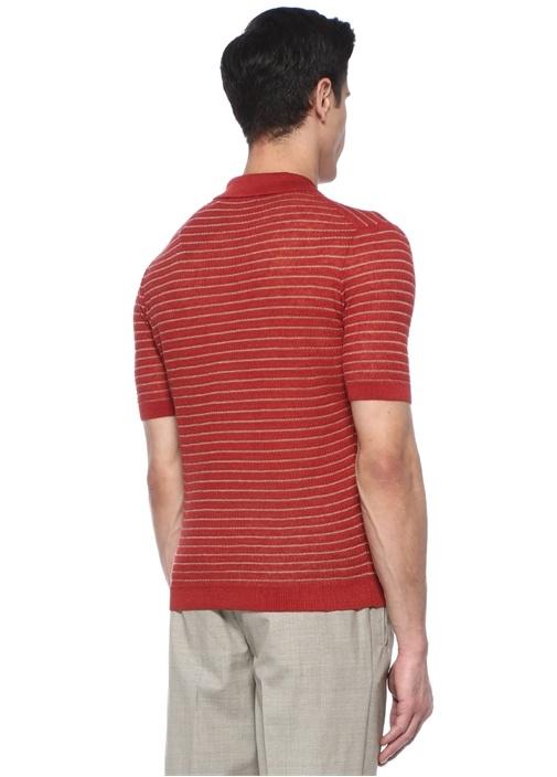 Kırmızı Polo Yaka Çizgili Kısa Kollu Keten Triko