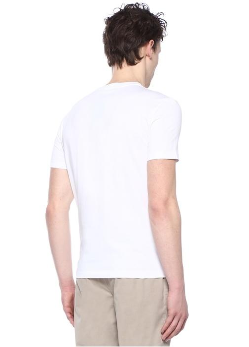 Beyaz Bisiklet Yaka Figür Baskılı BasicT-shirt