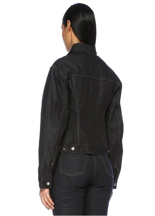 Kontrast Dikişli Düğmeli Jean Ceket