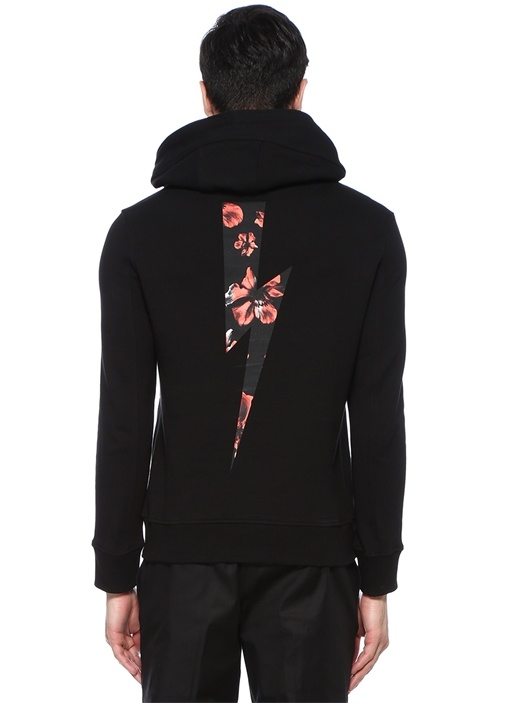 Siyah Kapüşonlu Çiçekli Logolu Sweatshirt