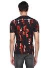 Siyah Kırmızı Bisiklet Yaka Çiçekli Basic T-shirt