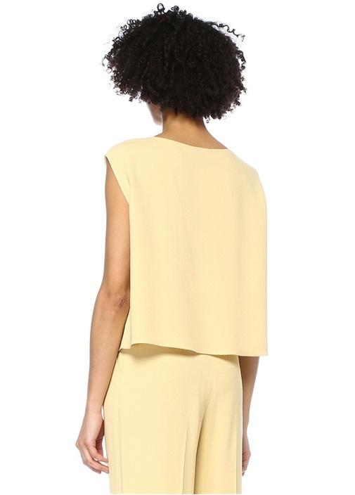 Sarı Straight Fit Kolsuz Crop Krep Bluz