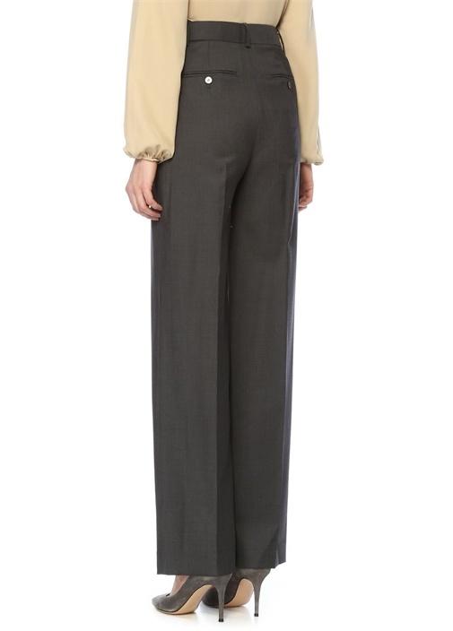 Antrasit Yüksek Bel Pileli Bol Yün Pantolon