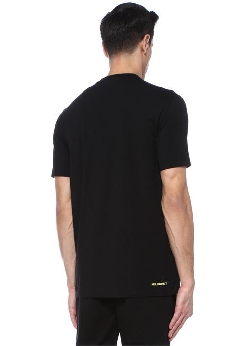 Siyah Bisiklet Yaka Ateşli Logo BaskılıT-shirt