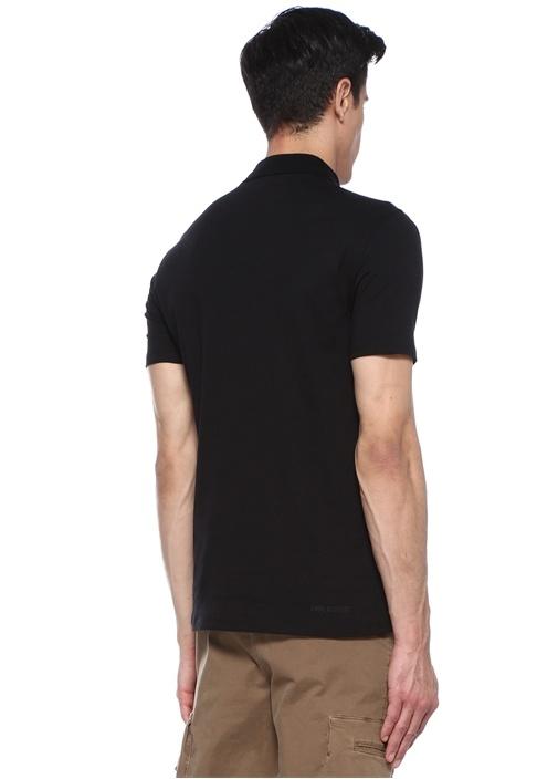 Siyah Polo Yaka Logolu T-shirt
