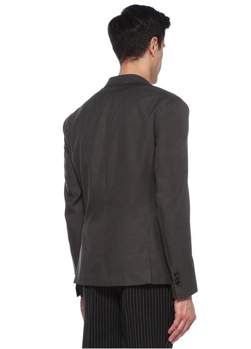 Slim Fit Gri Kırlangıç Yaka Ceket