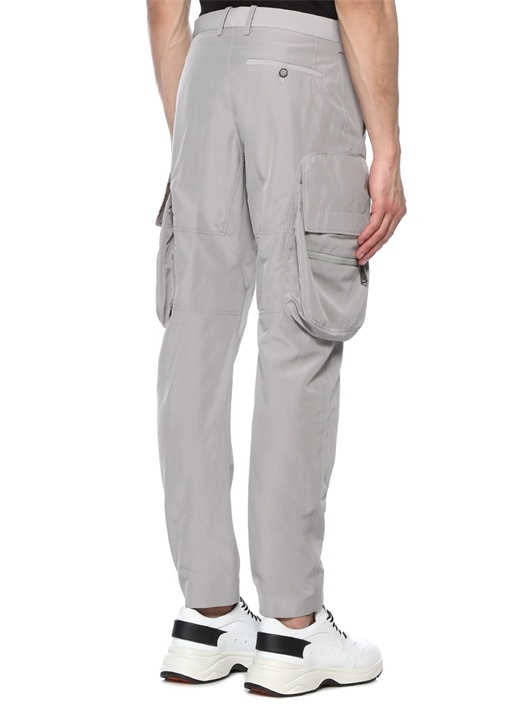 Slouch Fit Gri Düşük Bel Pantolon