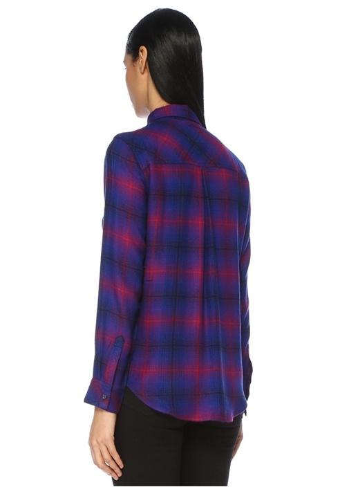 Hunter Mavi Kırmızı Ekose Desenli Gömlek