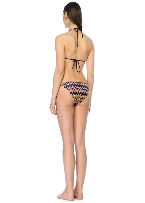 Renkli Zikzak Desenli Üçgen Bikini Takımı
