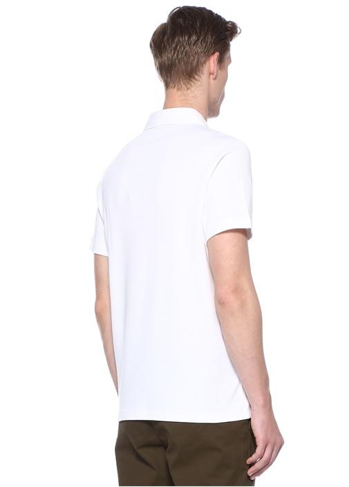 Beyaz Polo Yaka Logo Nakışlı T-shirt