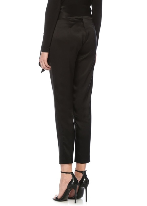 Siyah Yüksek Bel Bağcıklı İpek Saten Pantolon
