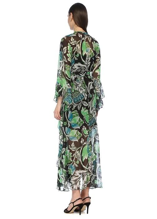 Lizella Siyah Çiçekli Maksi İpek Anvelop Elbise