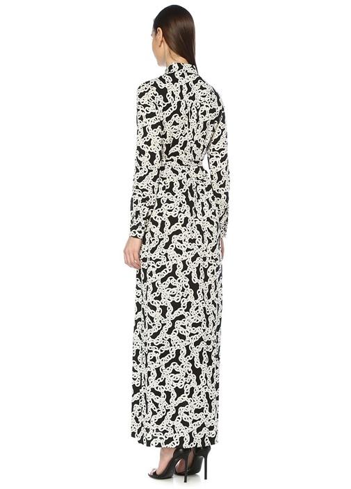 Amina Siyah Zincir Desen Maksi İpek Gömlek Elbise