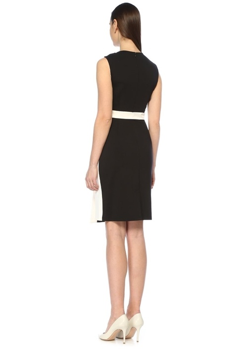 Lindsey Siyah Beyaz Diagonal Desenli Midi Elbise