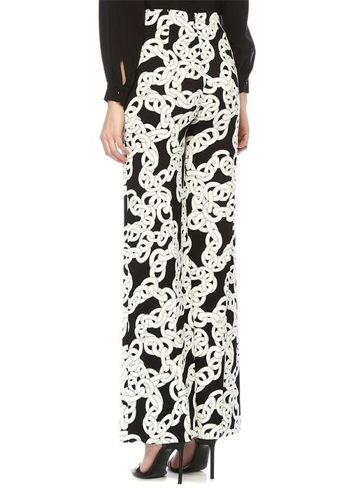 Erica Siyah Zincir Desen Yüksek Bel Streç Pantolon