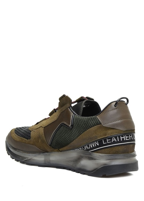 Kahverengi Şerit Logolu Garnili Erkek Deri Sneaker