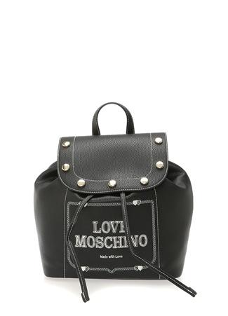 6410e6d74e94a Standart female Siyah Love Moschino Kadın Logo Jakarlı Troklu Sırt Çantası  EU