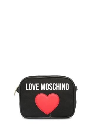 c3d1bbffbfcb2 Love Moschino Kadın Siyah Logo Baskılı Kanvas Omuz Çantası EU