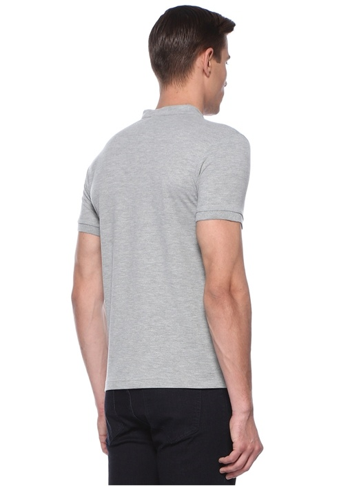 Gri Melanj Hakim Yaka Logolu Dokulu T-shirt