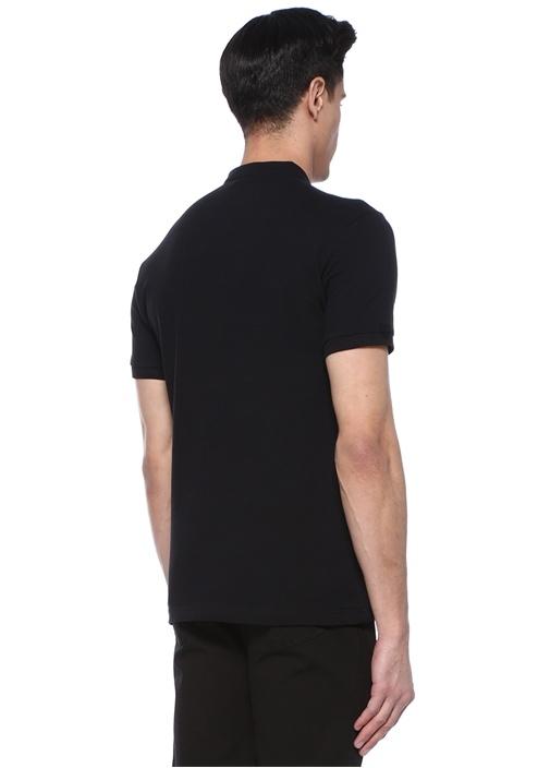Siyah Hakim Yaka Logolu Dokulu T-shirt
