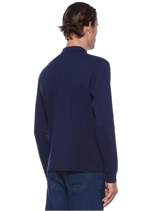 Lacivert Polo Yaka Logolu Uzun Kollu T-shirt