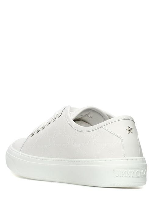 Aiden Beyaz Yıldız Logolu Erkek Deri Sneaker