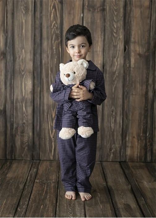 Lacivert Unisex Çocuk Uyku Arkadaşlı Pijama Seti