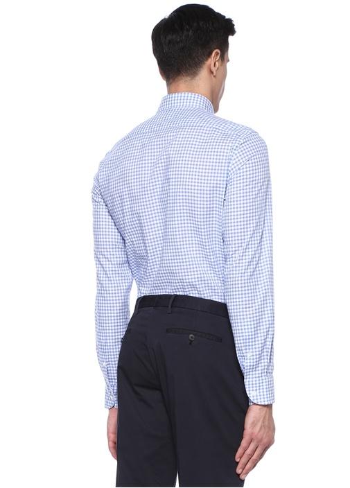 Mavi Beyaz Mikro Kare Desenli Gömlek