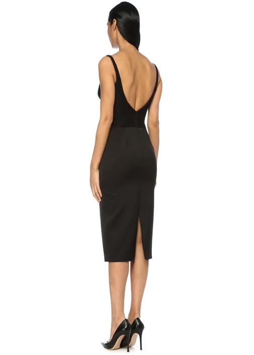 Siyah Derin V Yaka Pileli Midi İpek Kalem Elbise