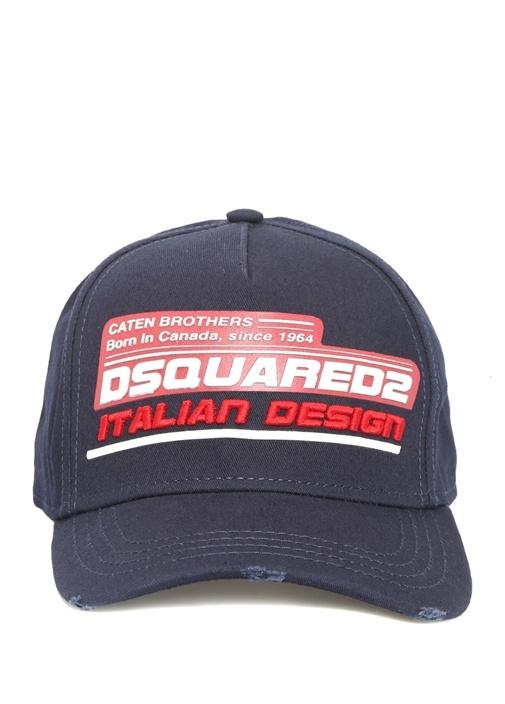 Lacivert Logo Patchli Nakışlı Erkek Şapka