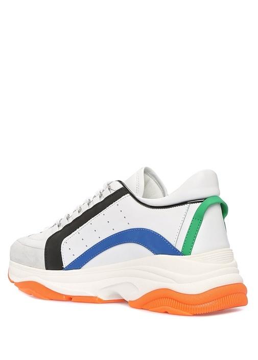 Beyaz Renk Detaylı Erkek Deri Sneaker