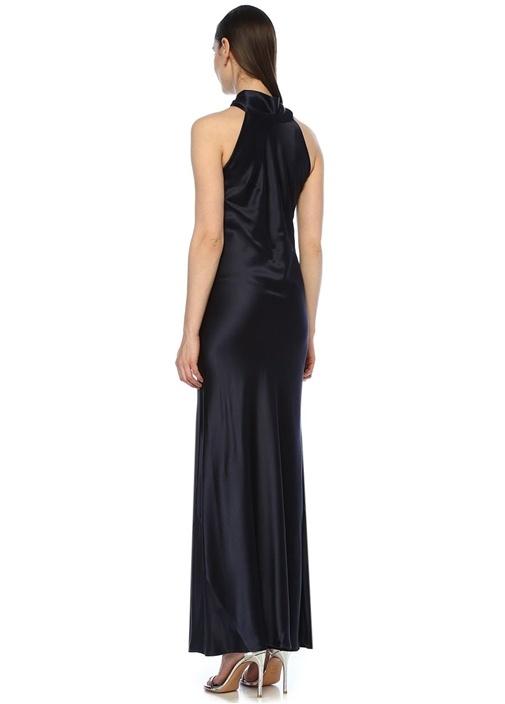 Sienna Lacivert Maksi İpek Saten Abiye Elbise