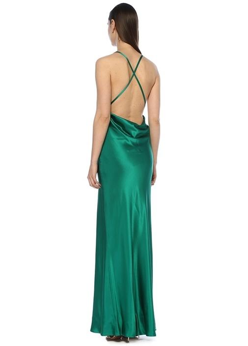Whiteley Yeşil Maksi İpek Saten Abiye Elbise