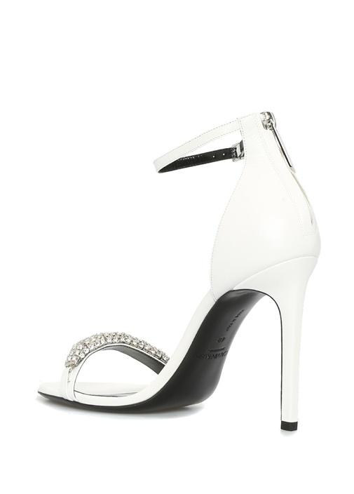 Beyaz Taş Bantlı Kadın Deri Sandalet