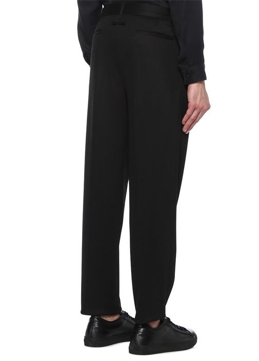Siyah Normal Bel Çift Pileli Dar Paça Pantolon