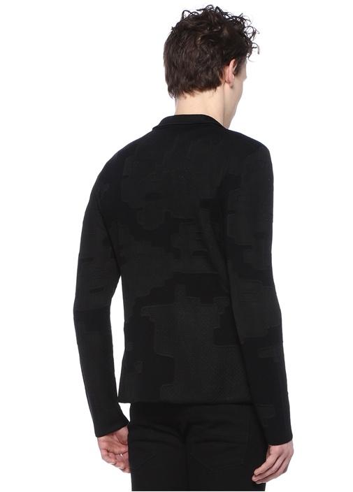 Siyah Kelebek Yaka Logo Jakarlı Yün Ceket
