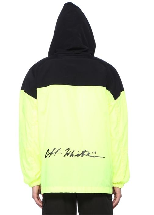 Siyah Neon Sarı Kapüşonlu Logolu Mont