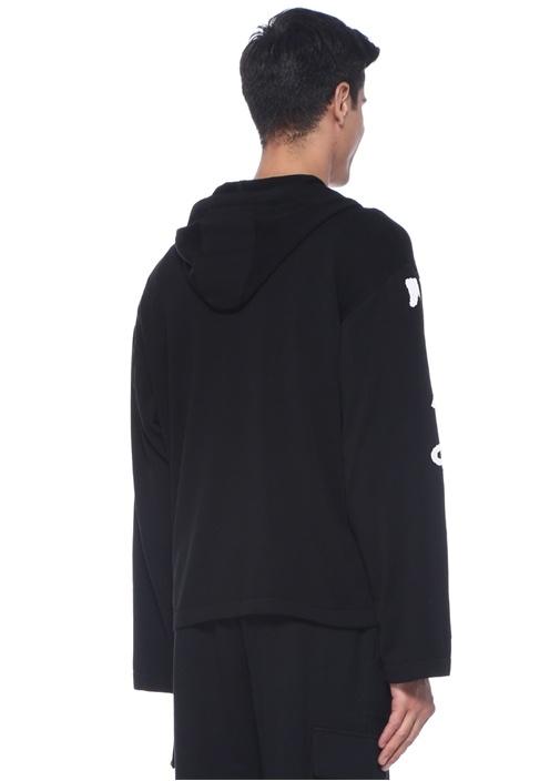 Siyah Kapüşonlu Logo Jakarlı Sweatshirt