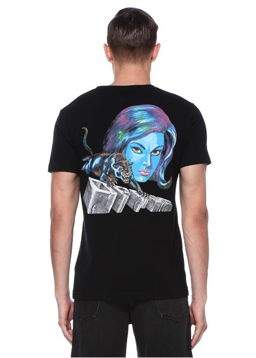 Siyah Bisiklet Yaka Baskılı Basic T-shirt