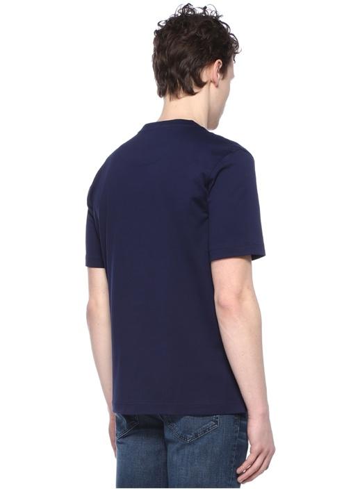 Lacivert Bisiklet Yaka Renkli Logolu T-shirt