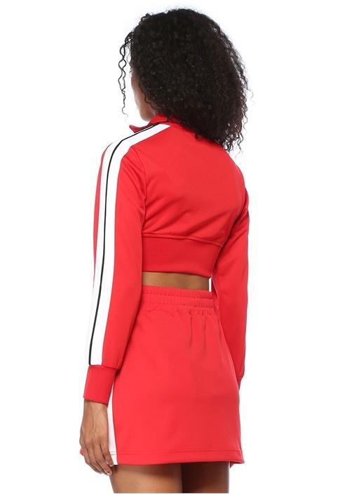 Kırmızı Dik Yaka Şeritli Fermuarlı CropSweatshirt