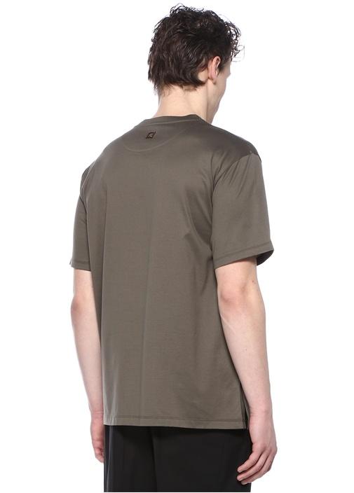 Haki Bisiklet Yaka Cepli Basic T-shirt