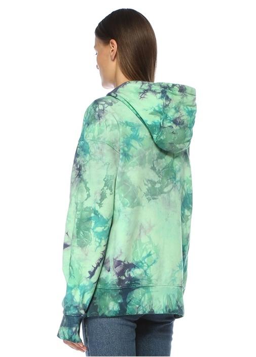 Falis Yeşil Kapüşonlu Batik Desenli Sweatshirt