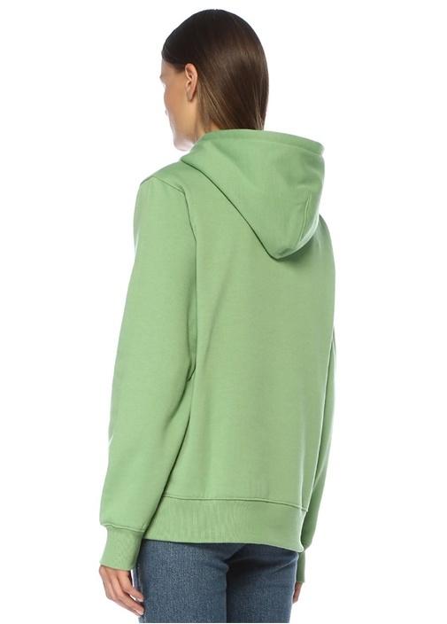 Ferron Mavi Kapüşonlu Logo Baskılı Sweatshirt