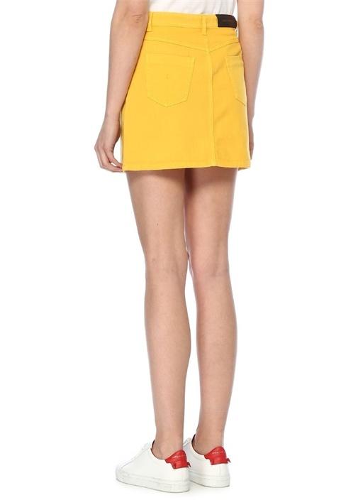 Sarı Mini Jean Etek