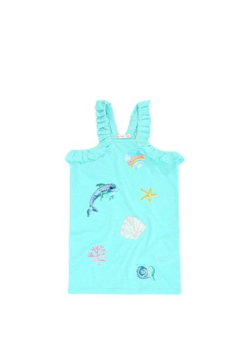Mavi Payet İşlemeli Kız Çocuk Elbise